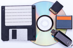 Selection Of Different Computer Storage Devices Stock Photos