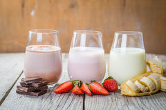 Free Selection Of Flavoured Milk - Strawberry, Chocolate, Banana Royalty Free Stock Image - 84894946
