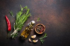 Free Selection Of Spices And Herbs On Dark Rusty Table. Royalty Free Stock Image - 109317626