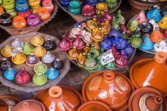 Selection Of Very Colorful Moroccan Tajines. Traditional Dish, M Stock Photos