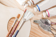 A Selection of Oil Painting Tools Royalty Free Stock Photography