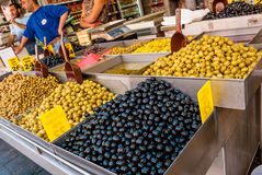 Selection of olives, Machane Yehuda Market, Israel Royalty Free Stock Images