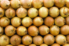 Selection of onions on display on market stall, close-up (full frame) Stock Photo