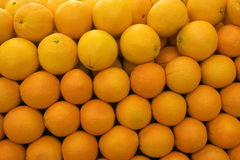 Selection of oranges on display on market stall, close-up (full frame) Stock Photography