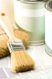 Selection of painting supplies brush and can Royalty Free Stock Image