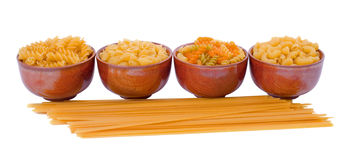 Selection of Pasta over white background Royalty Free Stock Images