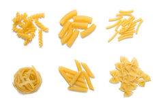 Selection of pasta uncooked, isolated Stock Photography