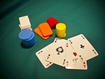 A selection of poker chips with 4 aces Stock Photos