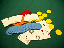 A selection of poker chips with 4 aces Stock Photo