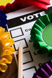 Selection Of Political Rossettes On Ballot Paper For Political E Royalty Free Stock Images