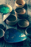 Selection of pottery earthenware dishes Royalty Free Stock Image