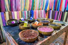 Selection of powders used to dye fabrics and textiles royalty free stock photography