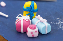 A selection of presents made of fondant Stock Image