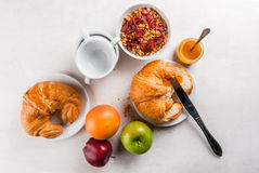 Selection products for continental breakfast Royalty Free Stock Images