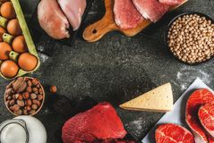 Selection of protein sources food Royalty Free Stock Photography
