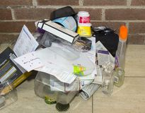 A selection of recyclable household waste collected over a few days in a pensioners household in U.K. A selection of recyclable household waste including Royalty Free Stock Photos