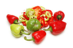 Selection of red and green peppers Royalty Free Stock Photography
