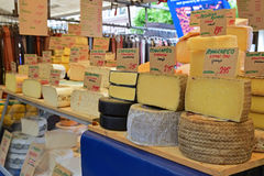 Selection of round Cheese block at Morning Market in Amsterdam Stock Photo