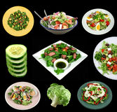 Selection Of Salads. A selection of fresh salads and ingredients on a black background Royalty Free Stock Image