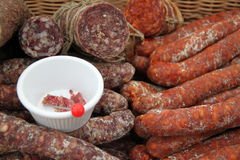 A selection of salami and dried meat Royalty Free Stock Photography