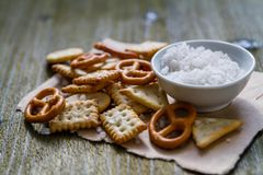 Selection of salty snacks Stock Image