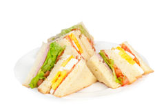 A selection of Sandwiches with various fillings. At a plate royalty free stock photography