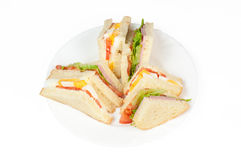 A selection of Sandwiches with various fillings. At a plate royalty free stock image