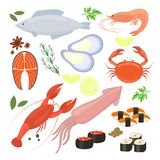 Selection of seafood  shrimp and sushi icons Royalty Free Stock Photography