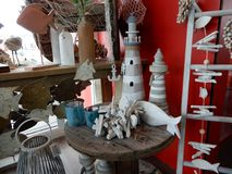 Selection of seaside. Or coast related gift items in a shop display Royalty Free Stock Photo