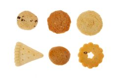 Shortbread biscuit selection. Selection of shortbread biscuits isolated against white Royalty Free Stock Images