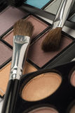 Selection of similarly coloured eye shadow and two brushes Royalty Free Stock Images