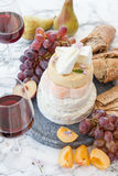 Selection of soft cheeses Royalty Free Stock Photos