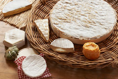 Selection Of Soft Cheeses Viewed From Above Stock Photo