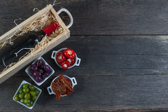 Selection of spanish tapas with red wine Royalty Free Stock Photos