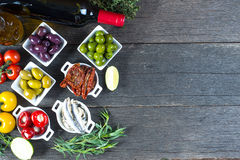 Selection of spanish tapas with red wine from above Stock Images