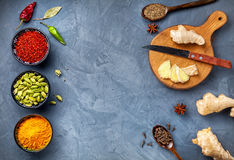 Selection of Spices at blue stone background Royalty Free Stock Photos
