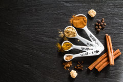 Selection of spices for christmas and thanksgiving. Dark stone background Stock Images
