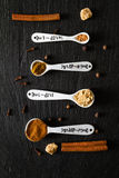 Selection of spices for christmas and thanksgiving. Dark stone background Stock Image
