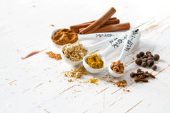 Selection of spices for christmas and thanksgiving. White wood background, copy space Stock Images