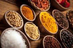 A selection of spices closeup Stock Photos
