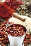 A selection of spices, dried chilis in zinc bucket in foreground Stock Photography