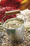 A selection of spices, fennel seeds in zinc bucket in foreground Royalty Free Stock Photo