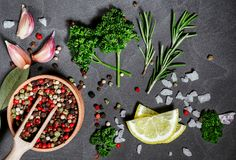 Herbs and spices over black stone background. Top view with copy space. stock images