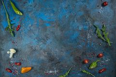Selection of spices herbs and greens. Ingredients for cooking. Food background on black slate table. Top view copy space royalty free stock image