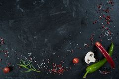 Selection of spices herbs and greens. Ingredients for cooking. Food background on black slate table. stock photography