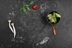 Selection of spices herbs and greens. Ingredients for cooking. Food background royalty free stock photo
