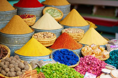Selection of spices on a Moroccan market Royalty Free Stock Photo