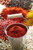 A selection of spices, paprica powder in zinc bucket Stock Images