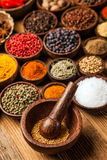 A selection of spices on table royalty free stock photo