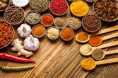A selection of spices top view Royalty Free Stock Images